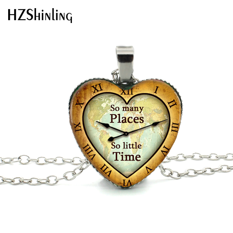 New Book Quote Heart Necklace Book Lover Gift Jewelry So Many Places So Little Time Pendant Silver Heart Shaped Necklaces HZ3