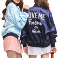 2017 Women Autumn Winter Korean Style Over Size Basic Jackets Letters Back Harajuku Boyfriend Style bomber jacket Stain Stand