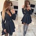 Осенняя Мода Женщины V neek Button Shirt Dress Малый Горошек Отпечатано Сексуальная Нерегулярные Длинным Рукавом Мини Vestidos Платья 4