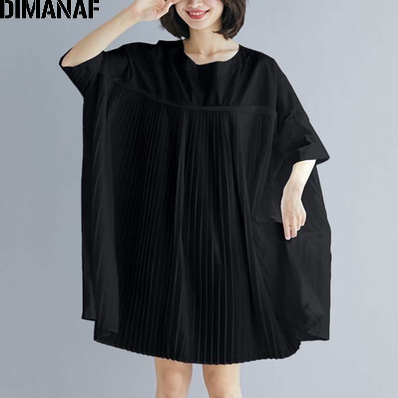 DIMANAF Plus Size Women Tops Tunic Big Size   Blouse     Shirt   Summer Lady Solid Spliced Pleated Loose Casual Female Clothes 5XL 6XL