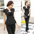 Uniforme Formal de Design de manga curta 2015 verão feminino Pantsuits Ladies trabalho escritório desgaste Tops e calças ternos calças estabelecidos preto