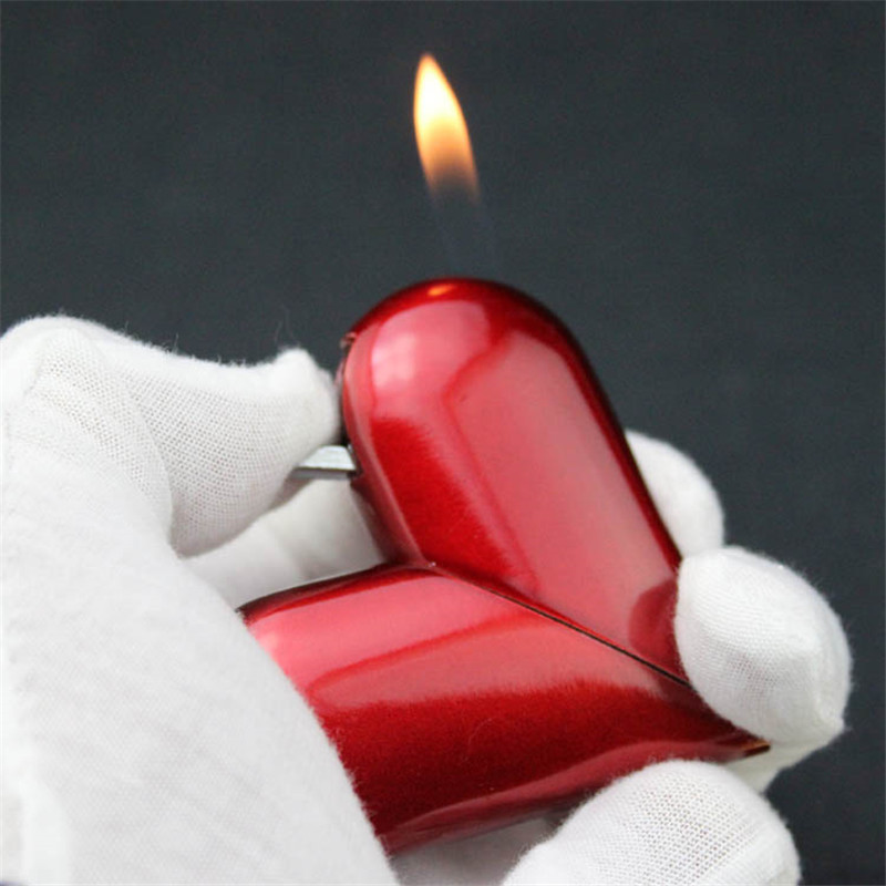 Foldable Deformation Heart Shape Cigarette Lighter Windproof Inflatable Gas Flame Torch Light Smoker Gift For Women In Accessories From