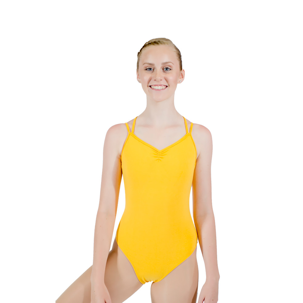 a9a3adcc8 Yellow Cotton Lycra Camisole Leotard with Cross Back Straps Red ...