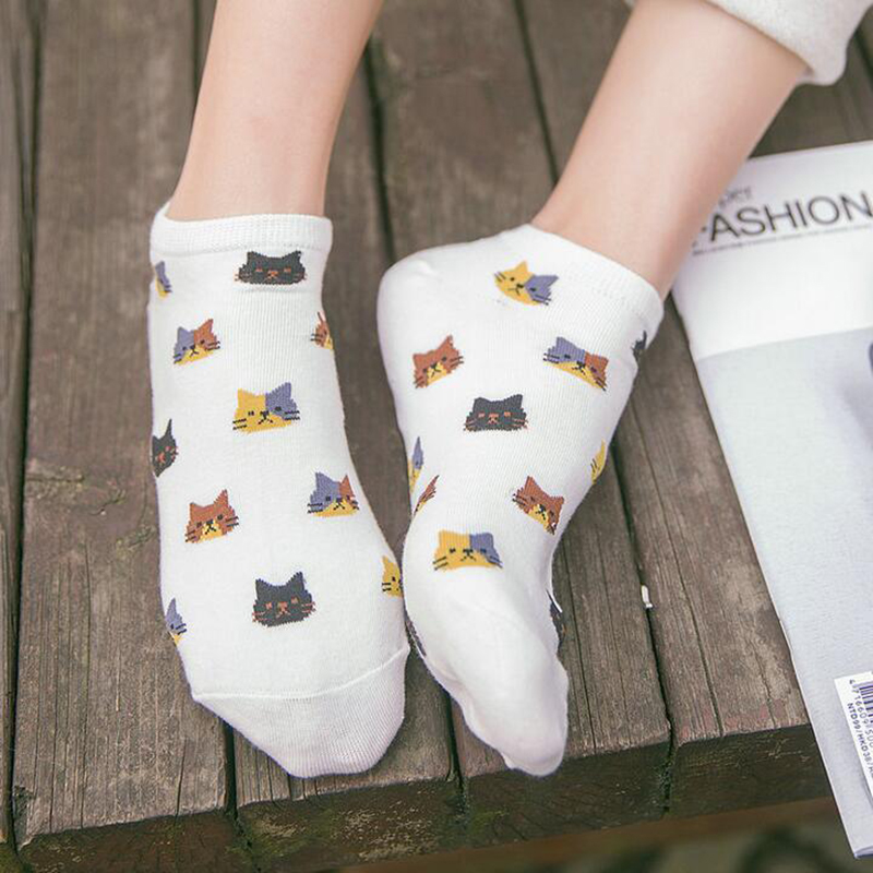 Female Funny Socks Casual Boat Low Cut Summer Cute Cats Faces Short Ankle Socks
