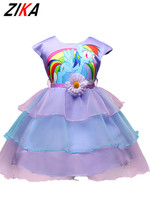 Children Dress Cute Cartoon Little Horse Pattern Kids Sleeveless Multilayer Dresses Summer Princess Clothes For Party