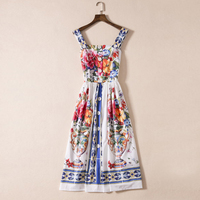 HIGH QUALITY New Fashion 2017 Designer Runway Dress Women's Charming Floral Printed Spaghetti Strap Buttons Dress