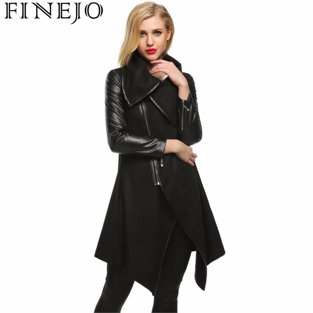 Finejo Women Fashion Lapel Long Sleeve Zip-up Faux Leather Patchwork Irregular Hem Wool Blend Coat Outwear S-XL