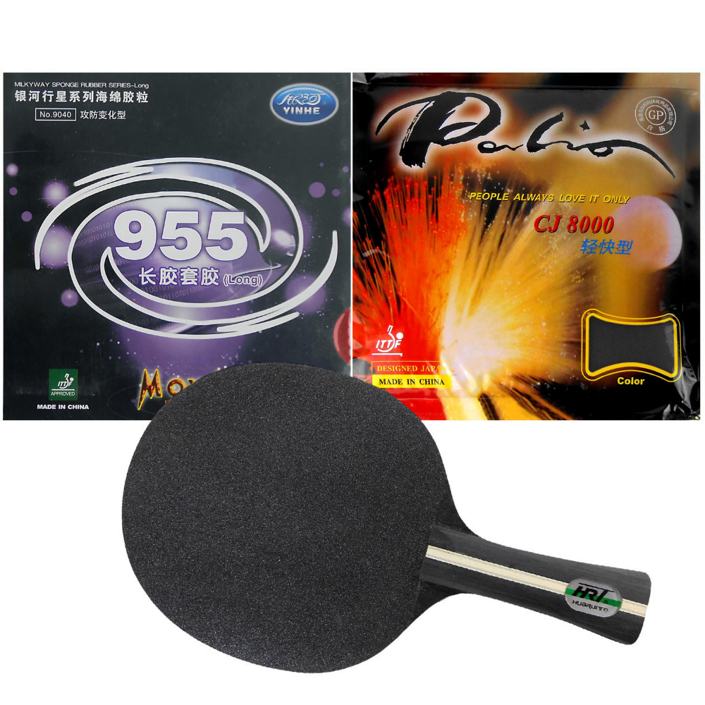 Original Pro Table Tennis Racket HRT Black Crystal with Galaxy Yinhe 955 and Palio CJ8000 Light fast Long Shakehand FL  china hrt