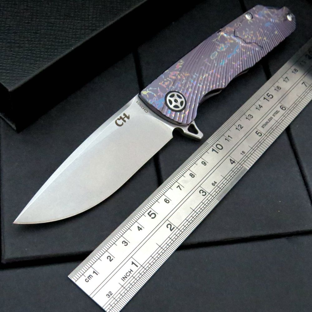 CH3501 58-60HRC Folding Knife AUS-10 Steel Blade Ceramic Ball Bearing Titanium Handle Flip Knife Hunting Survival EDC Army Tool 5 chic chefs horizontal ceramic knife 13cm blade
