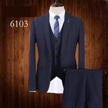 Nuevos hombres traje vestido casual rayado azul oscuro fácil tomar Cuidado  solo pecho formal jacket + Pant + Vest moda más tamañ. 5552ee8c3246