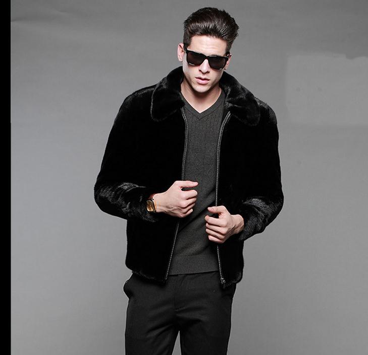 Envío gratis Mens chaqueta de piel de visón negro Casaco Masculino Casual ropa de gran tamaño con cremallera invierno Faux Fur Outwear J1648-13