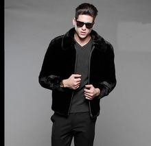 Free Shipping Mens Mink Fur Jacket Black Casual Casaco Masculino Male Large Size Clothes Zipper Winter Faux Fur Outwear J1648-13