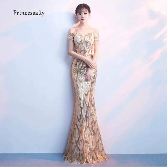 Vestidos De Gala New Mermaid Sequin Evening Dress Boat Neck Short Sleeve  Sexy Formal Evening Prom Party Banquet Gown For Women 6833da0f7a6a