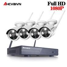 Ahcvbivn 4CH Беспроводной NVR играть и вилки 2.0MP HD Системы Открытый 1080 P IP WI-FI Камера ИК Ночное Видение видеонаблюдения системы