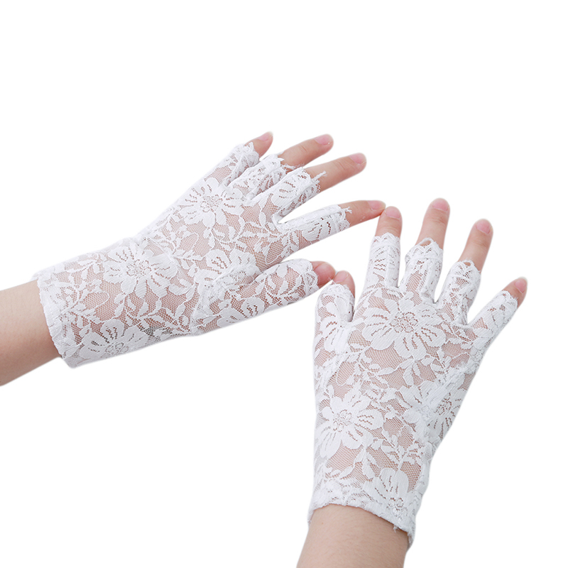 Spring New Arrival 3 Colors Party Sexy Women Lady Lace Gloves Mittens Accessories Fingerless Black White Beige 975801