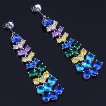 Fascinating Long Multigem Multicolor Sky Blue Cubic Zirconia White CZ 925 Sterling Silver Drop Dangle Earrings For Women V0780