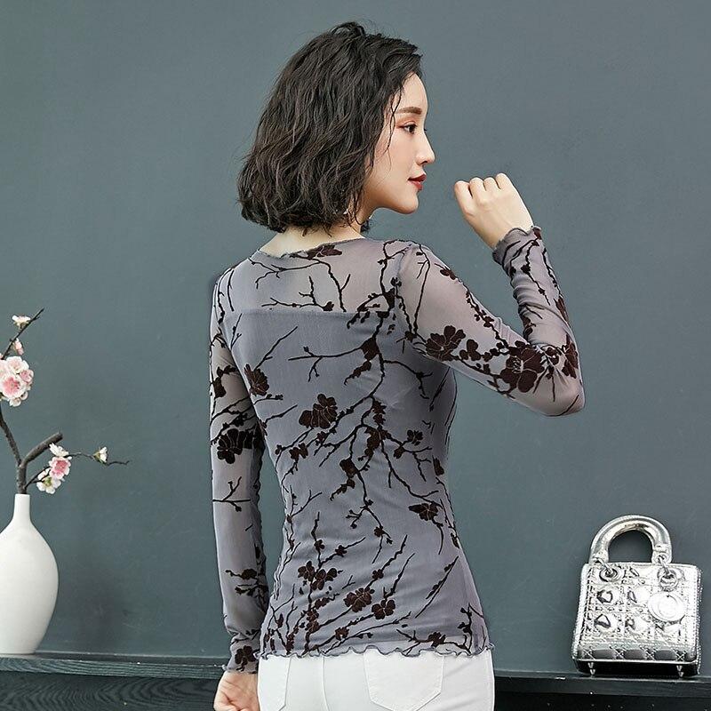 Larga Mujer Estampada Blusas gray Y Moda Blusa Tops Chemise De Casual Slim Camisa Sexy Manga 2018 Bobokateer Beige qA7x1n
