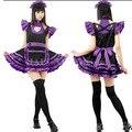 Дамы Сексуальное Женское Белье Фиолетовый Горничной Косплей костюм Мини Платье Клубные Необычные Платья KM571