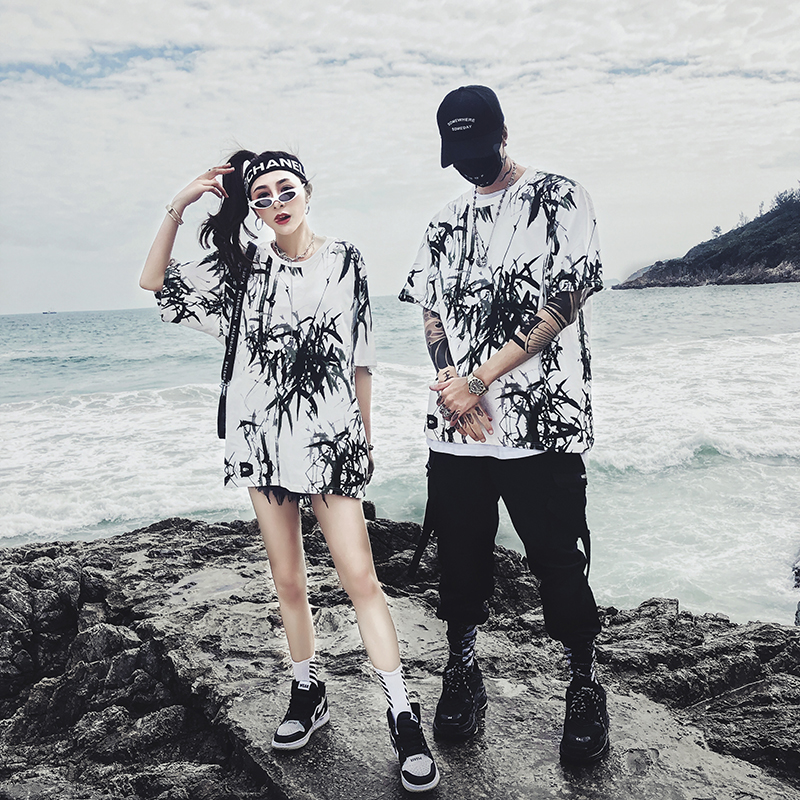 Dropshipping 2019 summer new bamboo splash ink Chinese painting short-sleeved shirt hip-hop oversized couple men women T-shirt 21