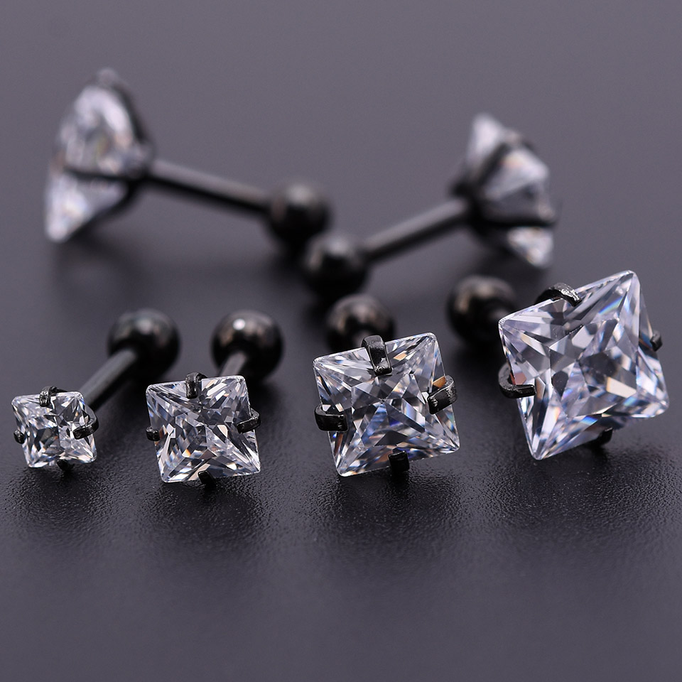 10Pcs Black Zircon Crystal Round Ball Tongue Lip Bar Ring Stainless Steel Barbell Ear Stud Body Piercing Jewelry