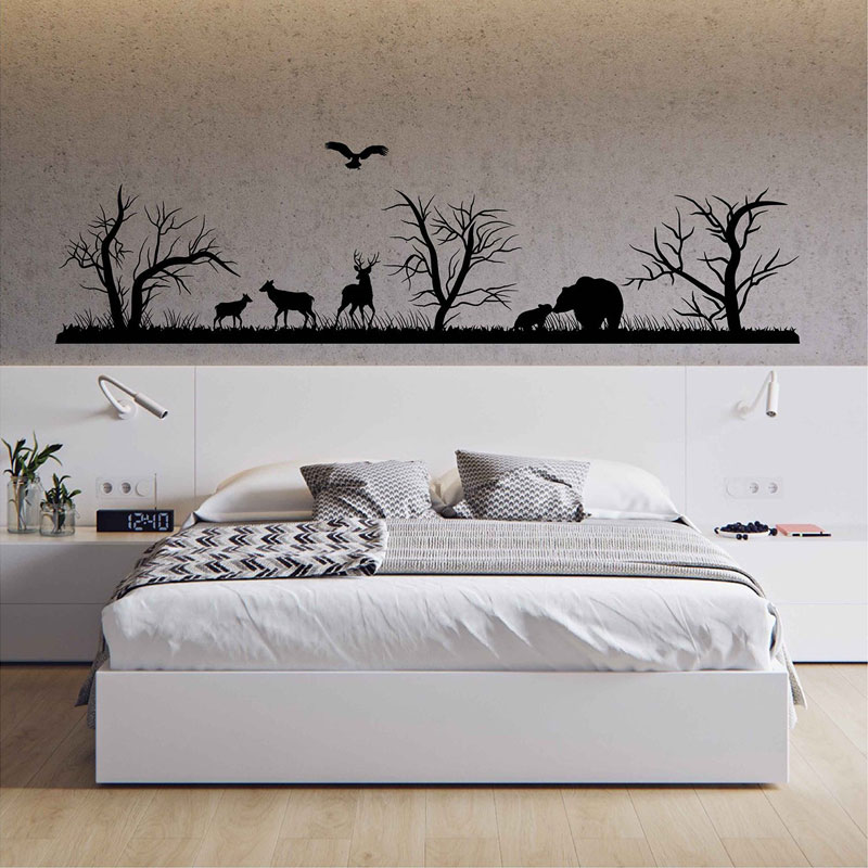 Landscape Vinyl Wall Decal Woodland Wall Decals Forest Silhouette Wall Decals Animals Art Decor Woodland Room For Bedrooms 3118 in Wall Stickers from Home Garden