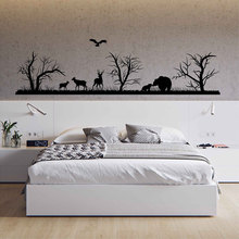 Landscape Vinyl Wall Decal Woodland Decals Forest Silhouette Animals  Art Decor Room For Bedrooms 3118