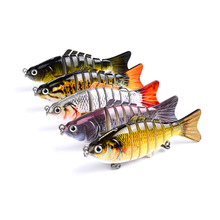 Hot Sale 7 Segments Fishing Lures Life-like Baby with Artificial Hooks 3D Eyes Crank Baits Tackle