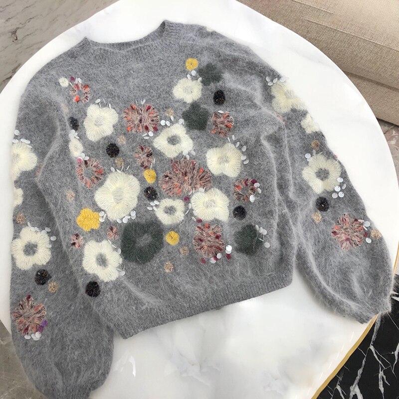 2019 Новая мода цветочный свитеры с вышивкой с фонари рукава толстые теплые трикотажные пуловеры для женщин костюмы мягкий свитер дамы