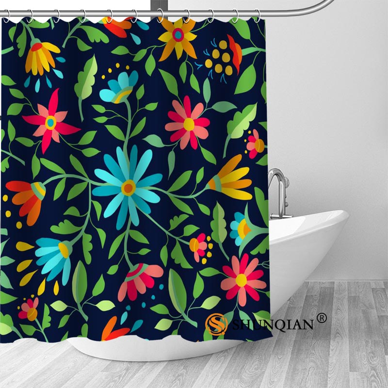 New Flower Pattern Shower Curtain Bathroom Decorations For Home Waterproof Fabric Curtain Shower Bath Curtain A18.1.3|Shower Curtains|   - title=