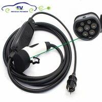 DUOSIDA 6meter 16Amp IEC 62196 2 Type 2 Mennekes EV Charging Cable EU Schuko Plug EVSE Portable Charger EV Connector Car Side