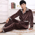 2016 Winter Spring Keep Warm Thick Coral Fleece Men Pajamas Sets of Sleep Tops & Bottoms Flannel Sleepwear Thermal Nightclothes