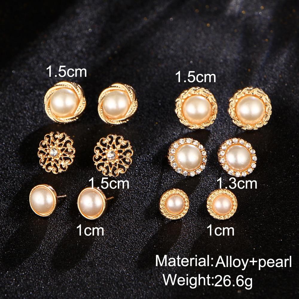 17KM Złoty Kolor Kwiat Hollow Stud Kolczyk Vintage Crystal - Modna biżuteria - Zdjęcie 3