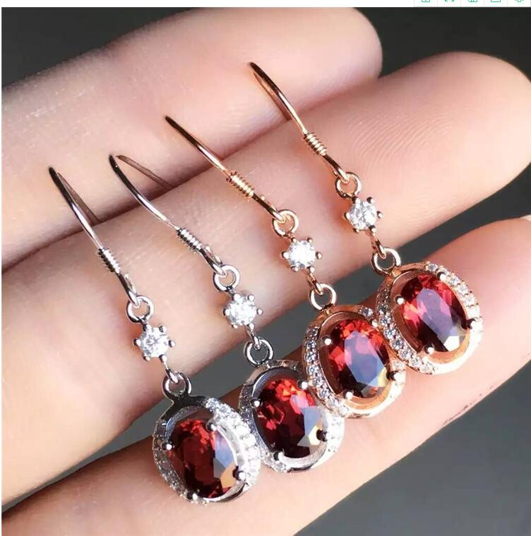 Real And Natural Garnet earring Free shipping Jewelry Natural real Garnet 925 silver Gem size 6*8mm Real And Natural Garnet earring Free shipping Jewelry Natural real Garnet 925 silver Gem size 6*8mm