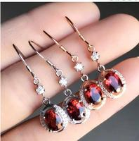 Real And Natural Garnet earring Free shipping Jewelry Natural real Garnet 925 silver Gem size 6*8mm