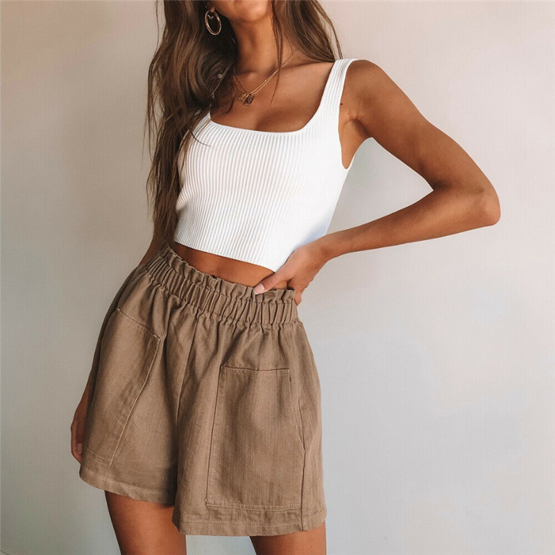 Fashion Women Shorts Summer High Waist Shorts Casual Hot Trousers Pocket Women Shorts Streetwear Ruffle Ladies Trousers