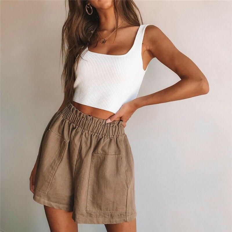 Fashion Women Shorts Summer High Waist Shorts Casual Hot Trousers Pocket Women Shorts Streetwear Ruffle Ladies Trousers