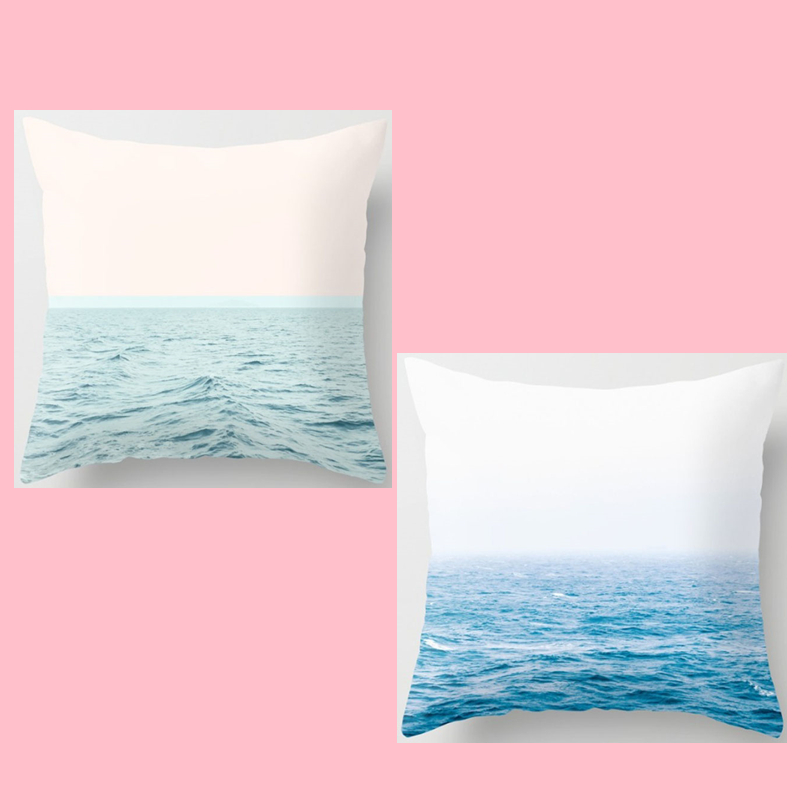 ᑐ2018 nuevo diseño Almohadas caso hermoso mar algodón Lino sofá