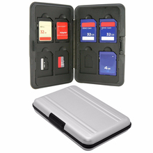 Silver Micro SD Card Holder SDXC Storage Holder Memory Card Case Protector Aluminum 16 slots for SD/ SDHC/ SDXC/Micro SD card