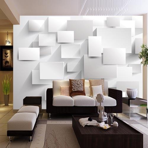 Goffrato astratta cubic murales carta da parati 3d grandi murales per soggiorno sfondo bianco - Murales camera da letto ...