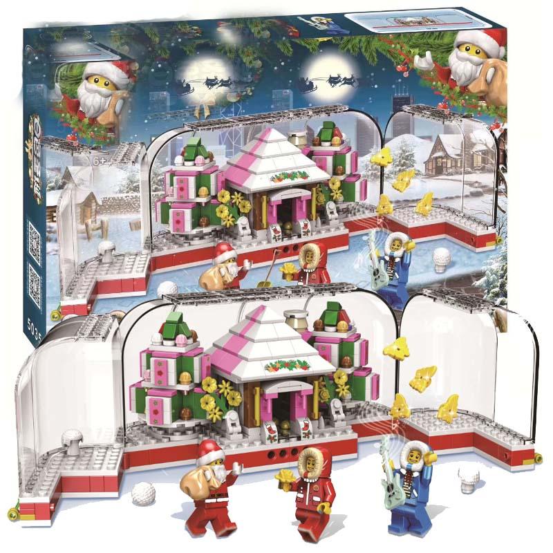 411pcs Snowman Model Legoinglys Christmas Santa Claus Coming Figure Elk And Sled  Building Blocks Set Kits Toys For Kids