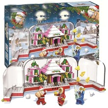 купить 411pcs Snowman Model Legoinglys Christmas Santa Claus Coming Figure Elk And Sled  Building Blocks Set Model Kits Toys For Kids по цене 834.19 рублей