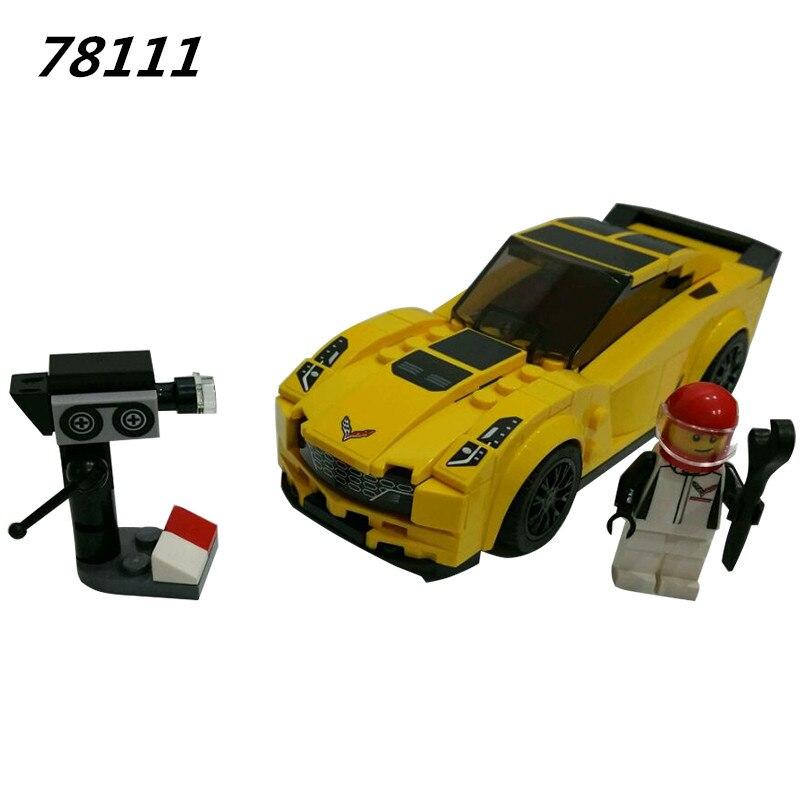 78111 Speed Champions Z06 Super Sports car Building Blocks Set Kids DIY Bricks Toys Educational Toys Compatible 75870 fangshi funs limcube diy super skewb dreidel 3x3x3 speed magic cube game cubes educational toys for kids children