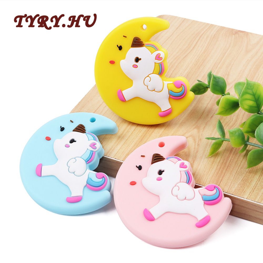 TYRY.HU 1PC Cute Moon Unicorn Teether BPA Free for DIY Baby Pacifier Chain Food Grade Silicone Beads Toy Pendant Gift