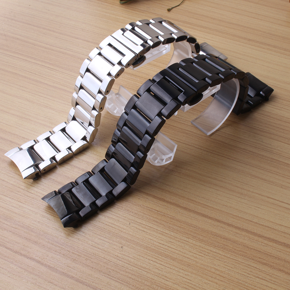 Watchbands stainless steel polished bright Metal Watches accessories black silver 22mm for gear s3 frontier classic curved end 5pcs 304 stainless steel capillary tube 3mm od 2mm id 250mm length silver for hardware accessories