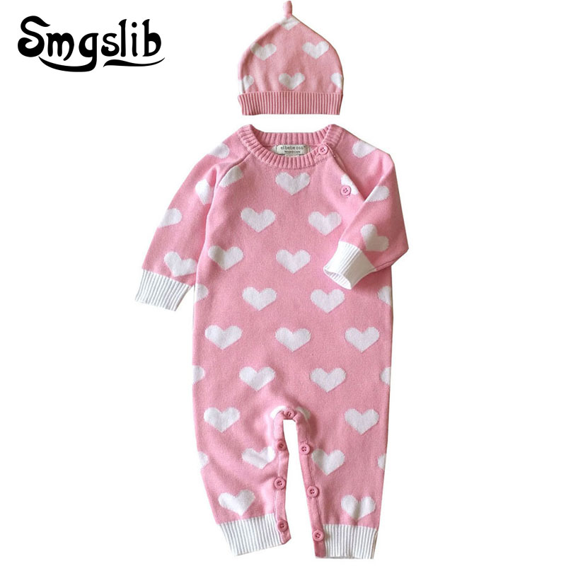 Baby girl romper Long Sleeve printing Infant Jumpsuit+Hat 2 Pcs Casual Outfit Autumn Newborn Boy Overalls knitted baby clothes