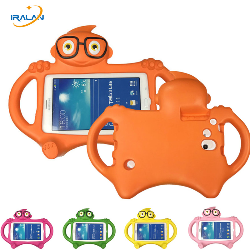 Hot 3D Glasses kids Case For <font><b>Samsung</b></font> <font><b>Galaxy</b></font> <font><b>Tab</b></font> <font><b>3</b></font> <font><b>t211</b></font> Lite T110 /<font><b>Tab</b></font> 4 7.0 T235 Cute Cartoon Silicone EVA Desk Stand Cover+pen image