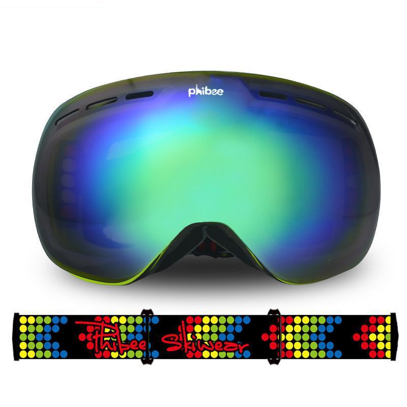 Unisexe grand revêtement sphérique double couche UV anti-buée lunettes de ski jeunesse escalade miroir coupe-vent protection des yeux