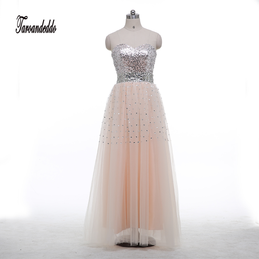 Strapless Champagne Tulle Silver Sequin Bodice Beading Sash Prom Dresses Floor Length Sexy Evening Gowns