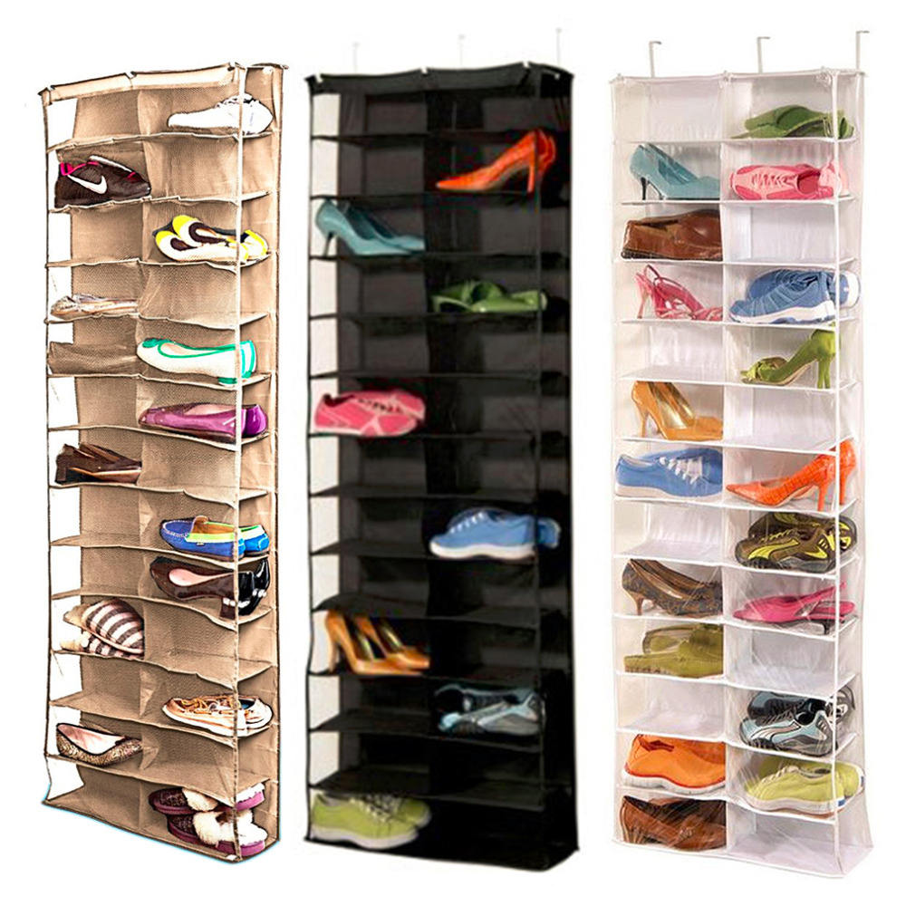 Household Useful 26 Pocket Shoe Rack Storage Organizer Holder, Folding Door Closet Hanging Space Saver with 3 Color