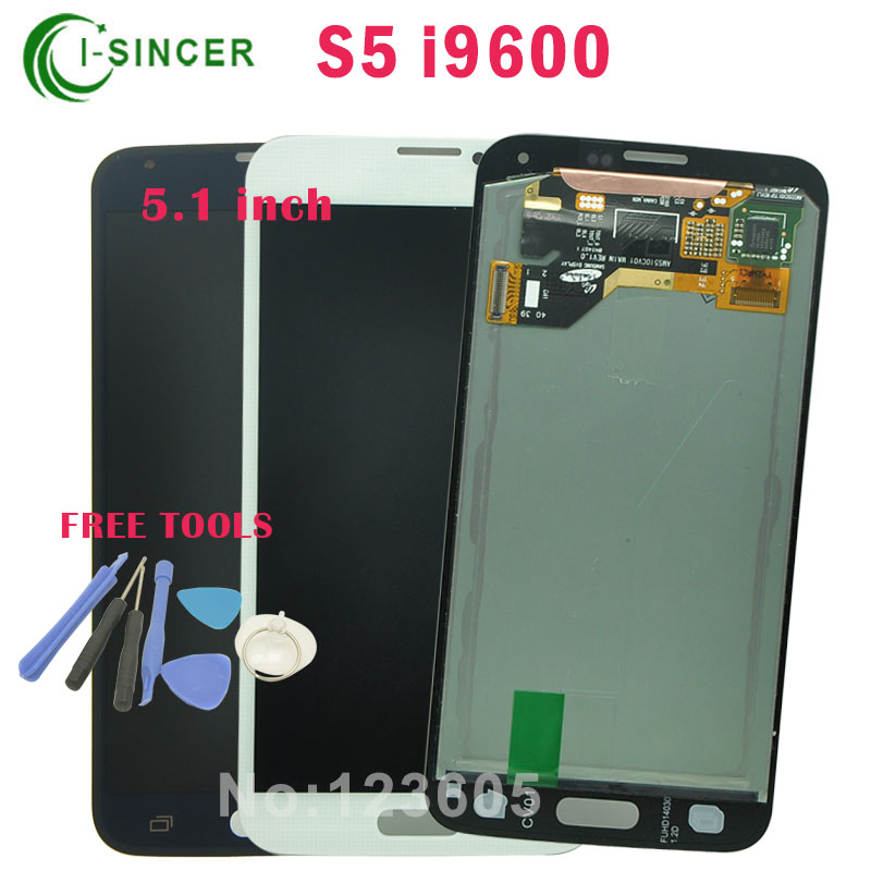 5.1 White/black LCD For Samsung For Galaxy S5 i9600 Full LCD Screen with Touch Screen Digitizer Assembly